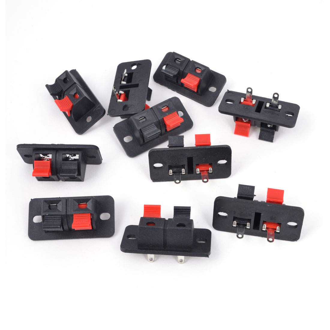 10Pcs 2 Way Stereo Speaker Plate Terminal Strip Push Release Connector Block
