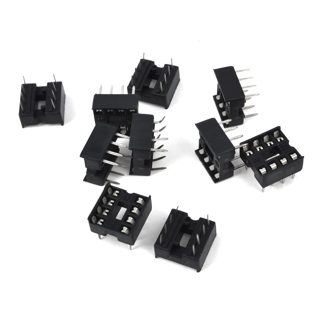 2.54mm Pitch Through Hole 8 Pins DIP IC Socket PCB Board Adapter 10 Pcs