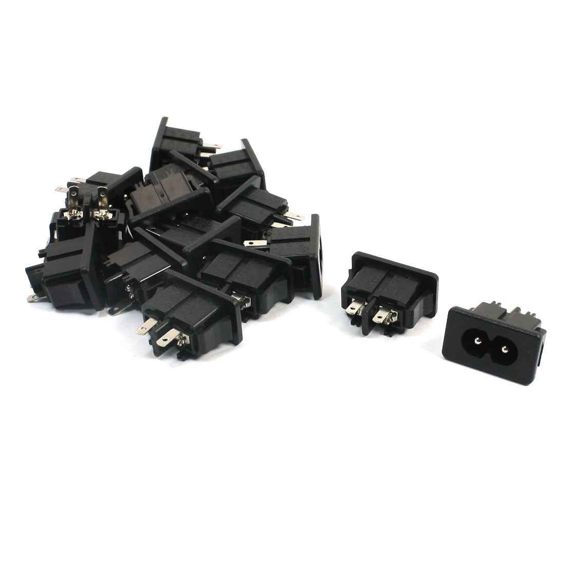 15Pcs Two Soldering Pins Power Supply Snap In Type IEC C8 Coupler Shotgun Connector Adapter Male Plug AC 250V 2.5A