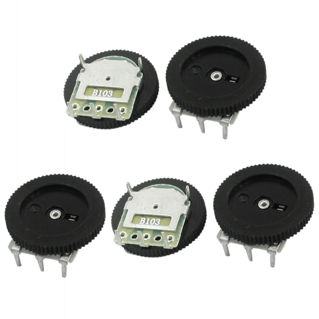 5Pcs 16mmx2mm 10K ohm Stereo Radio Volume Control Wheel Potentiometer B103
