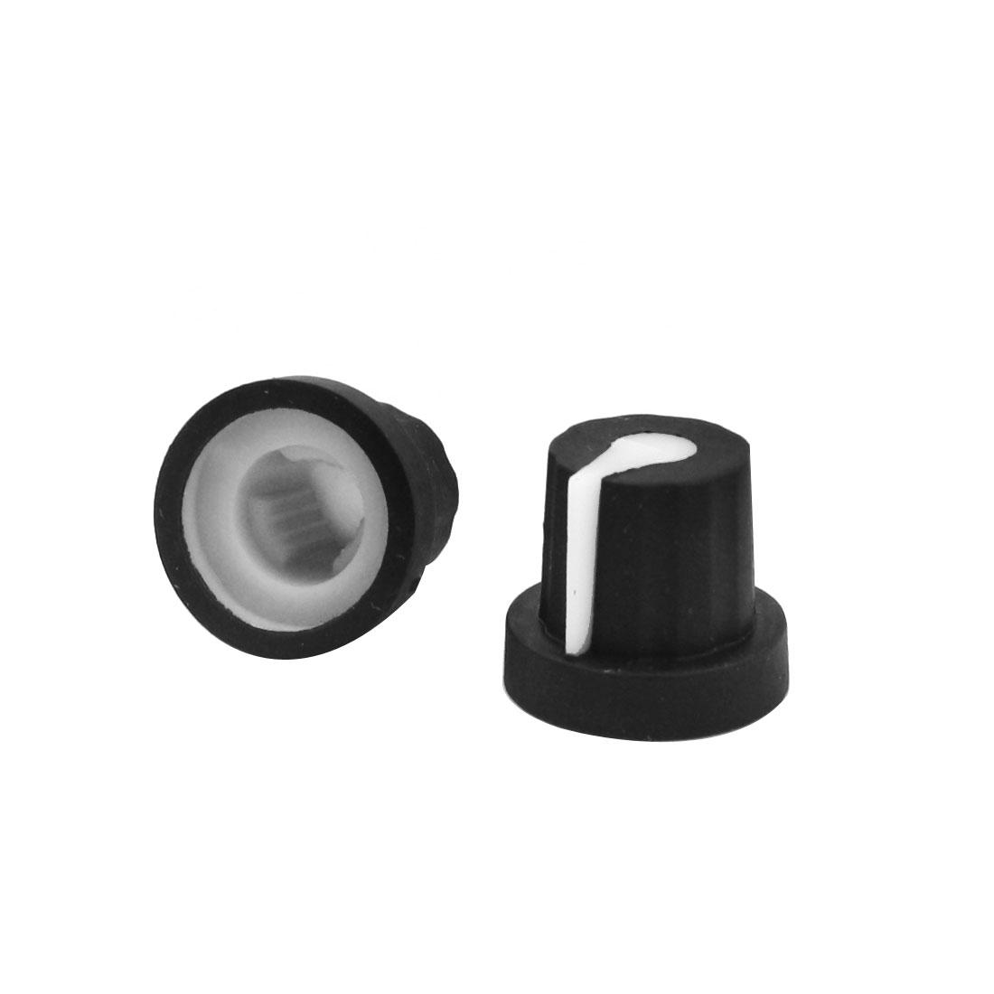 6mm Split Shaft Stereo Radio Taper Potentiometer Volume Knob Cap 2pcs