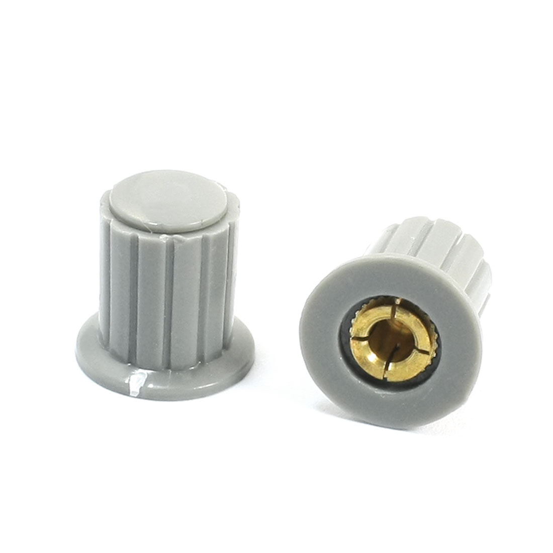 2pcs Ribbed Grip 4mm Split Shaft Volume Knob KYP16-16-4 for Potentiometer Pot