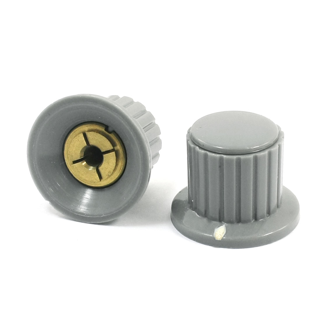 2pcs Ribbed Grip 4mm Split Shaft Volume Knob KYP25-18-4 for Potentiometer Pot