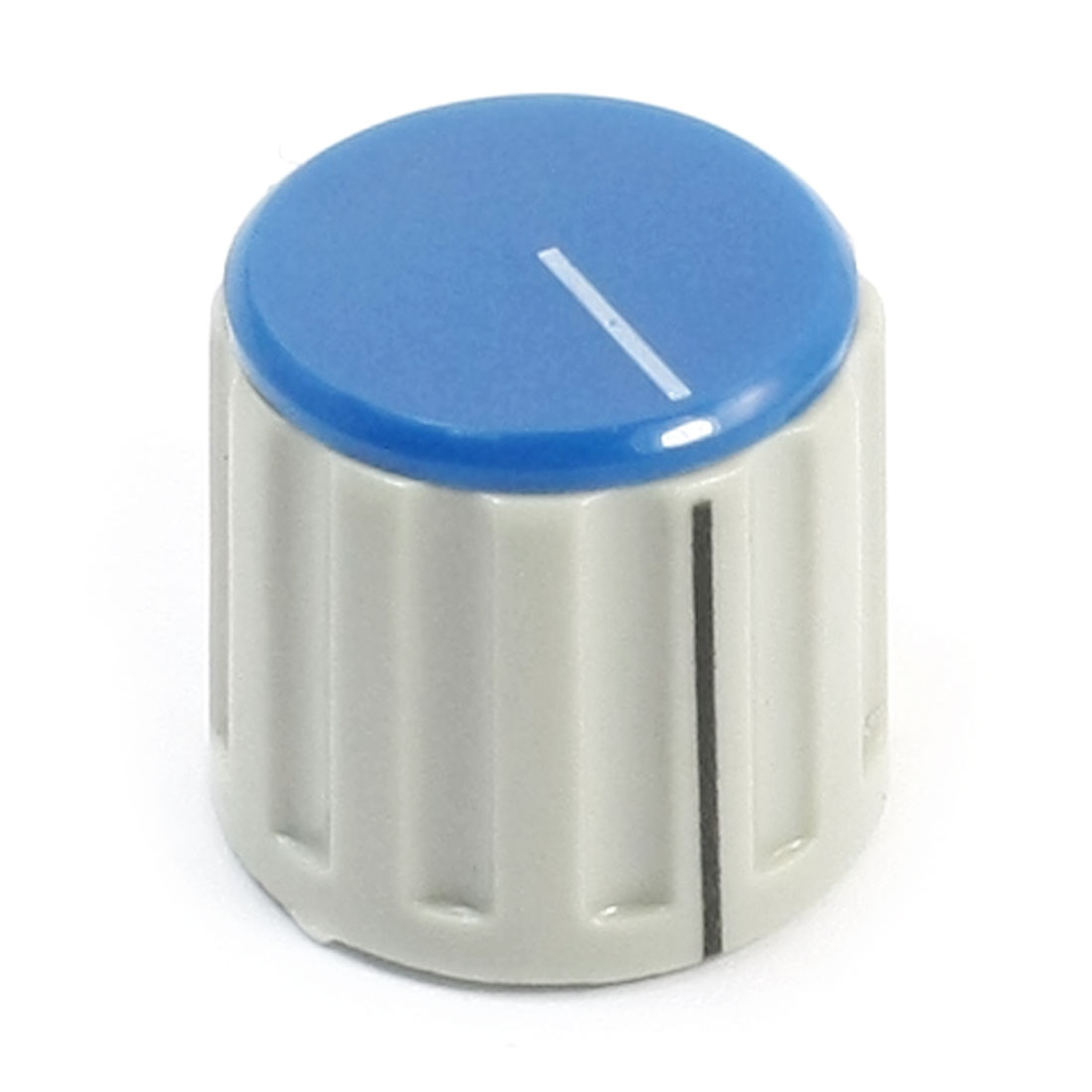 Ribbed Grip 6mm Split Shaft Blue Cap Volume Knob KN115 for Potentiometer Pot