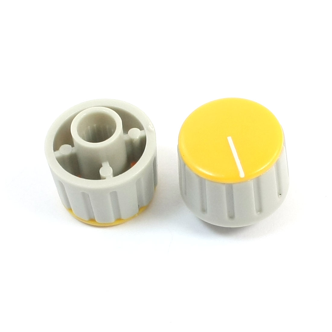 2pcs 6mm Shaft Dia Yellow Top Volume Knob Cap 16x12mm Gray for Potentiometer Pot