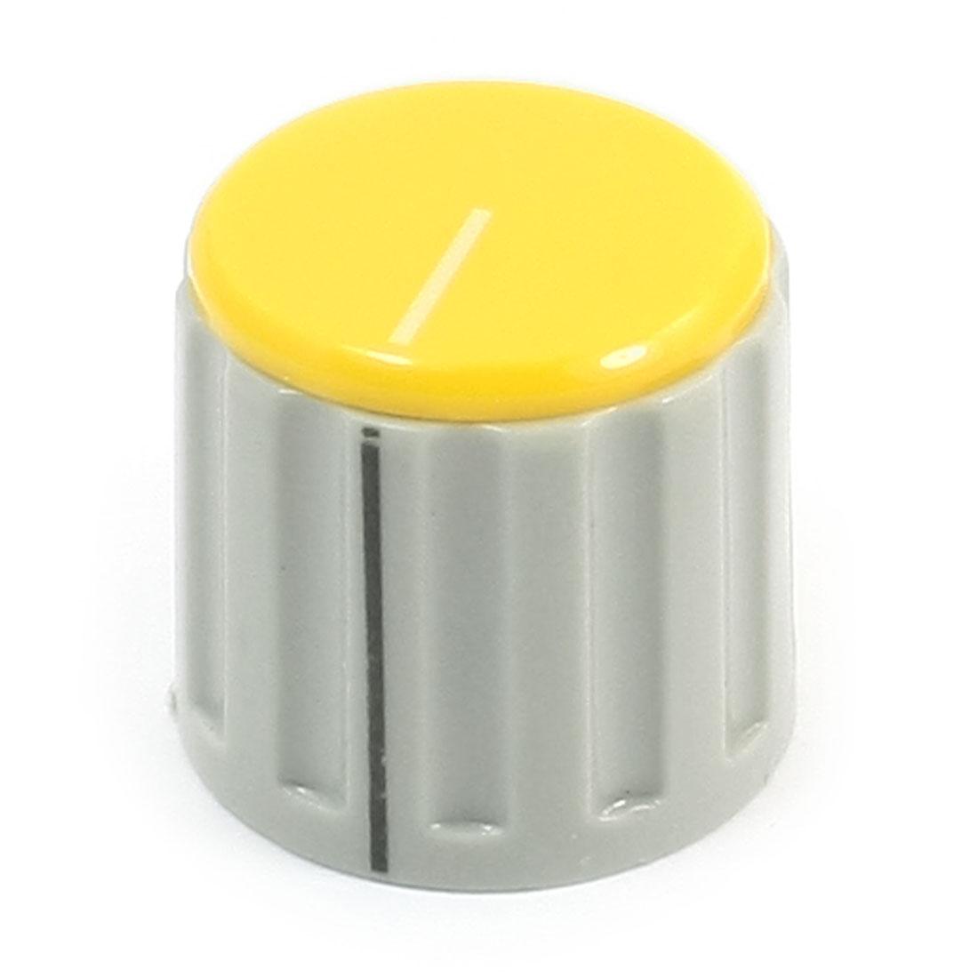 6mm Split Shaft Yellow Cap Stereo Radio Taper Potentiometer Volume Knob KN115