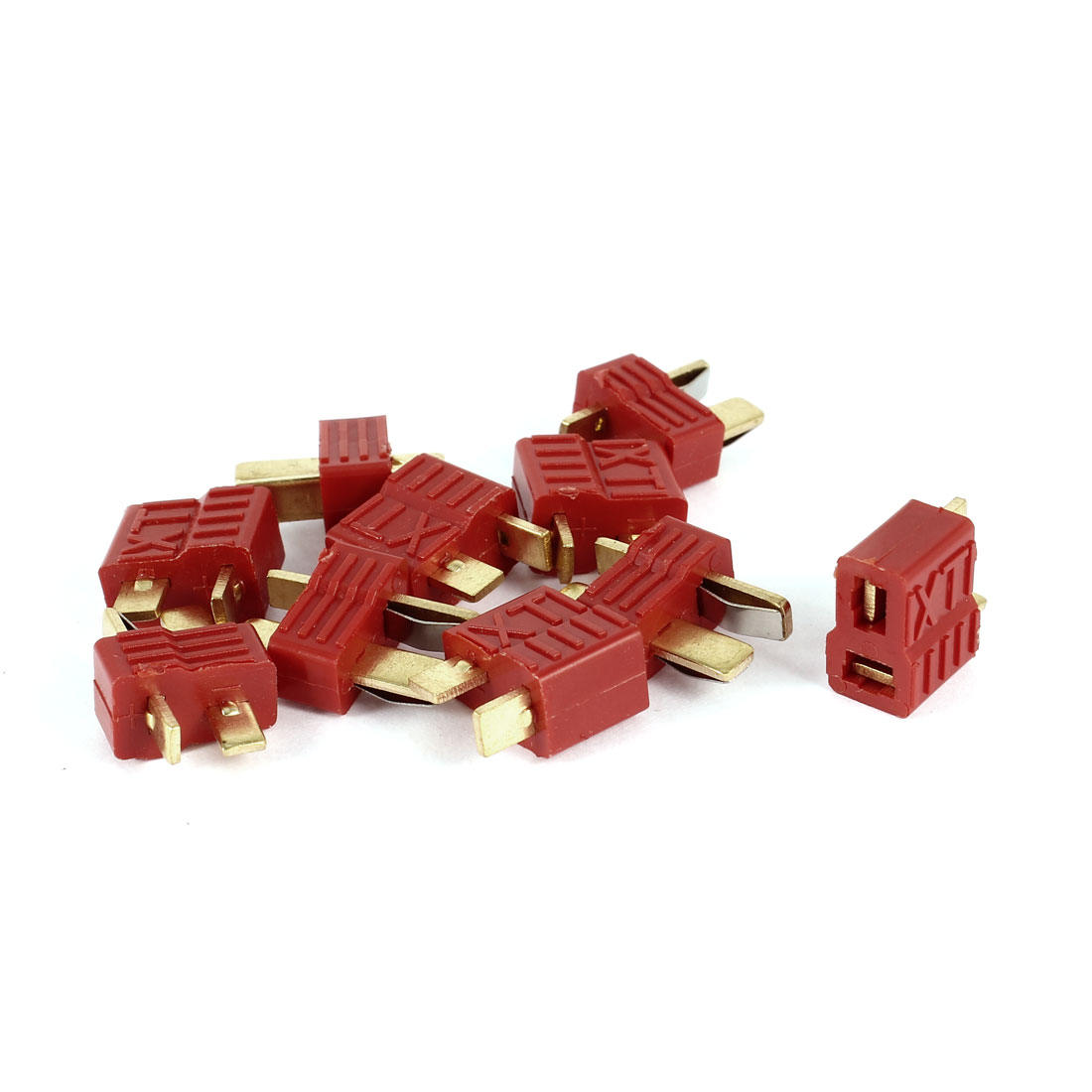RC Model Toy Battery Repalcing Parts T Plug Male to Female M/F Connector Red 5 Pairs