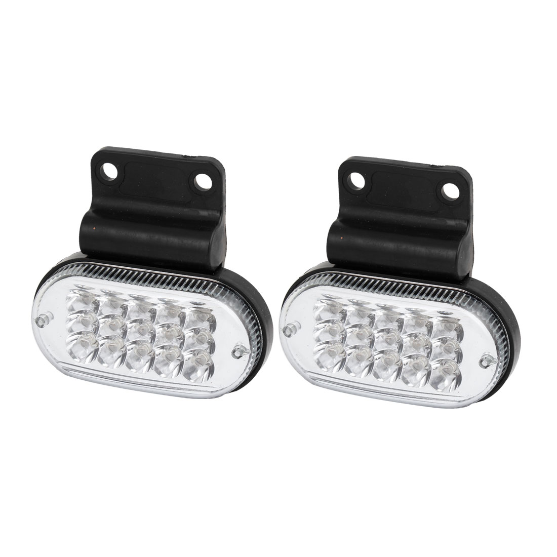 2 Pcs White 15 SMD LED Plastic Case Side Marker Signal Light for Car