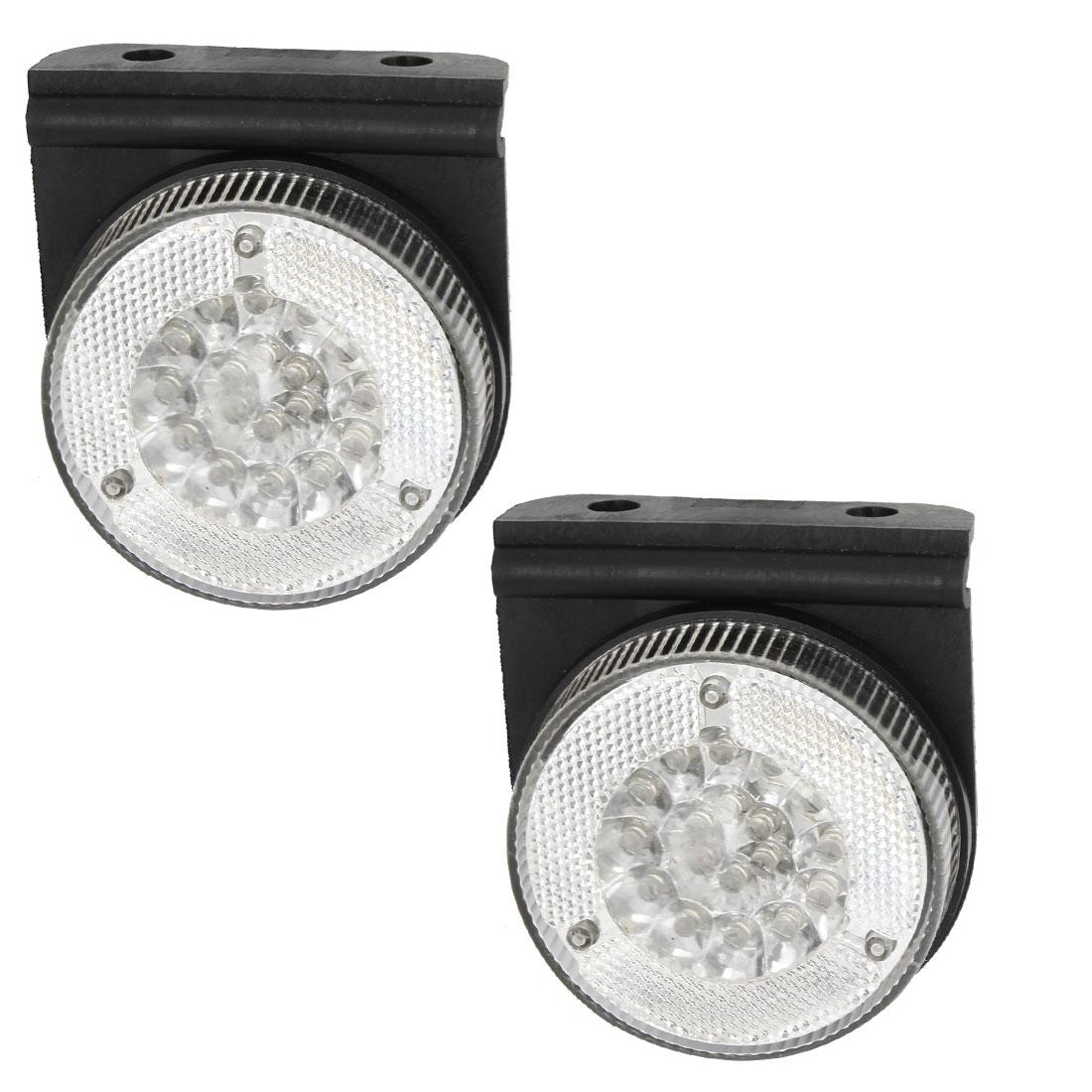 2 Pcs Round Shape White 18 LED Lamp Auto Signal Side Marker Light DC 24V