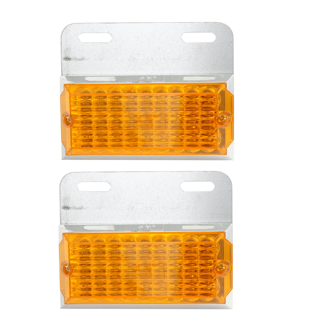 2 Pcs Car Yellow Plastic 27 LED Front Fender Side Marker Light Lamp DC 24V