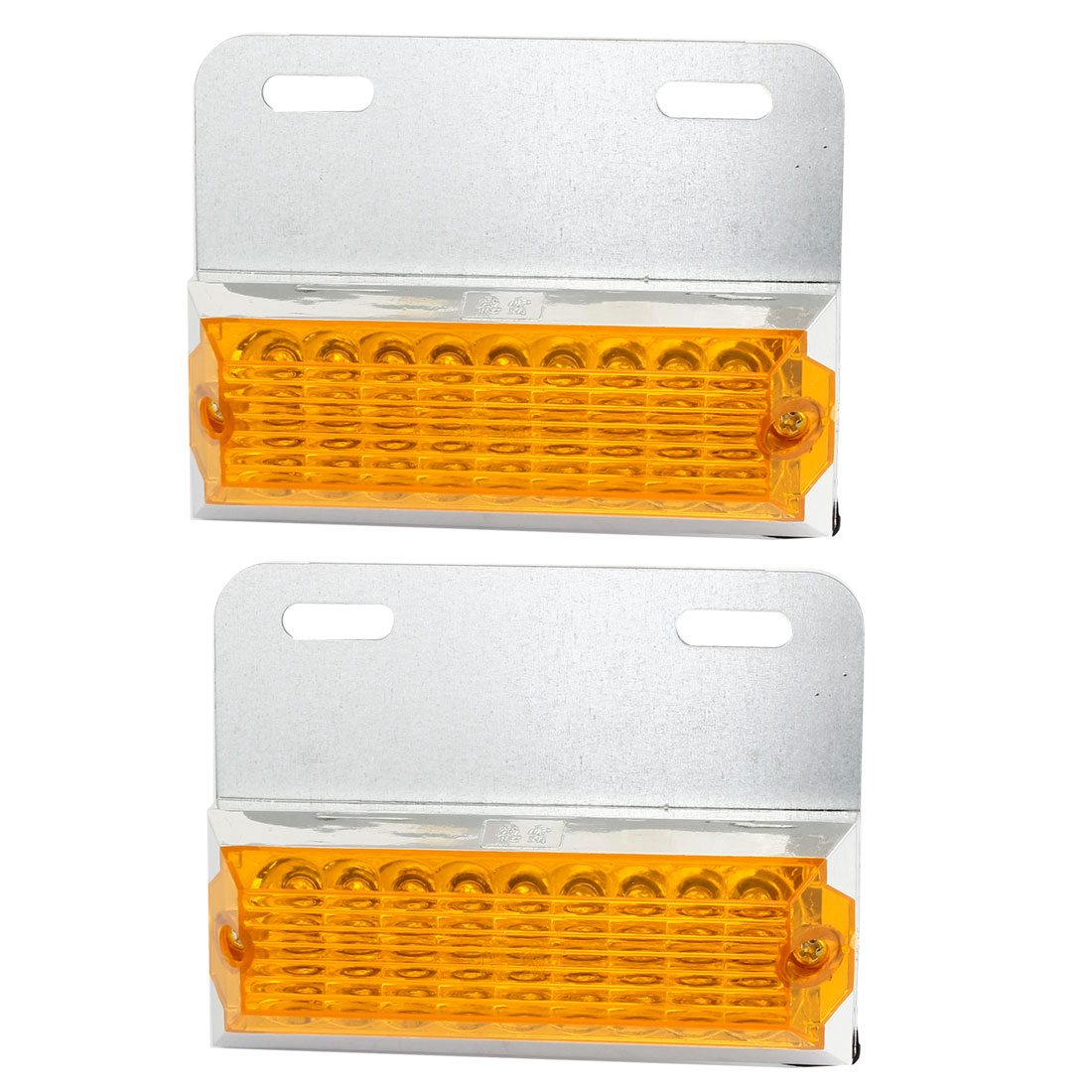 2 Pcs Metal Plastic Shell 18 Yellow LED Side Marker Light Decorative Lamp for Car
