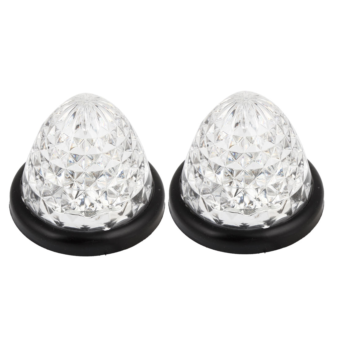 2 Pcs Conical Shape Plastic Housing 16 White LEDs Light Lamp for Vehicles Car