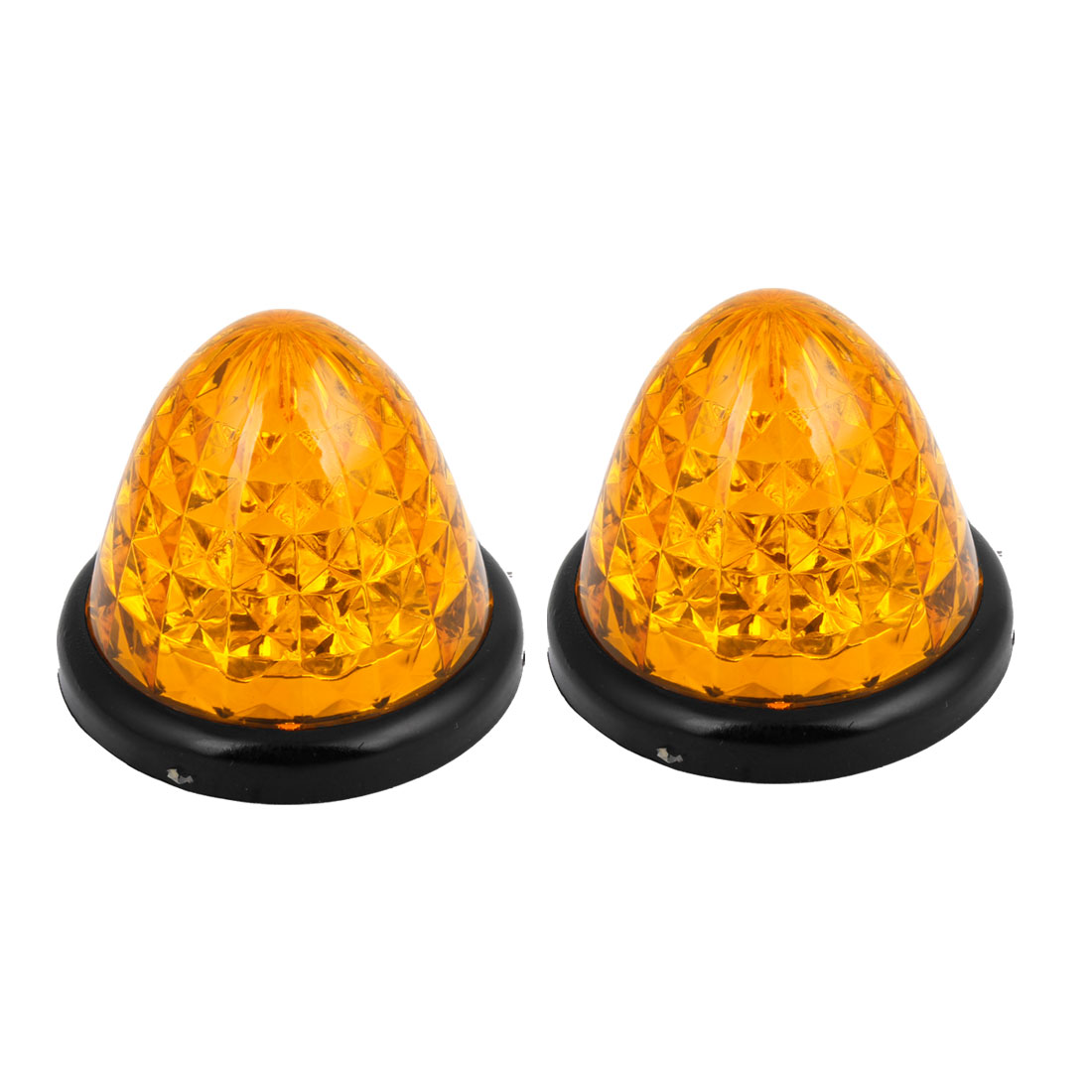 2 Pcs Vehicle Car Lighting Cone Shaped Wired 17 Yellow LEDs Light Lamp