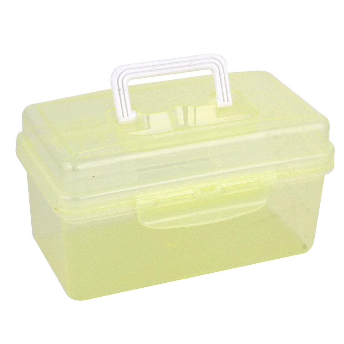 Clear Yellow Plastic Rectangle Shape Hardware Tool Storage Box Holder Case