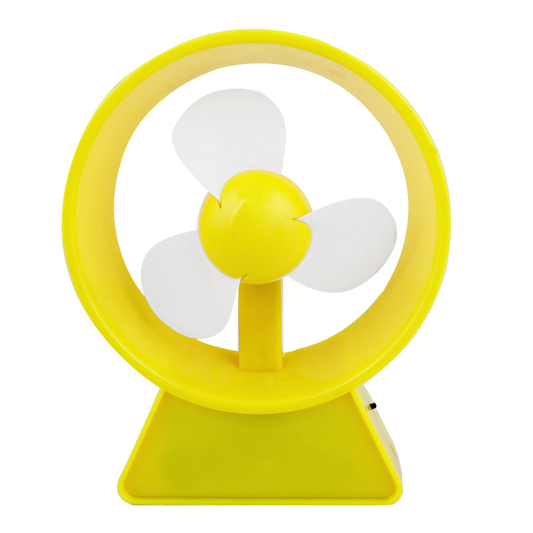 Handy Desktop Notebook Yellow Plastic Round Frame USB Battery Mini Fan