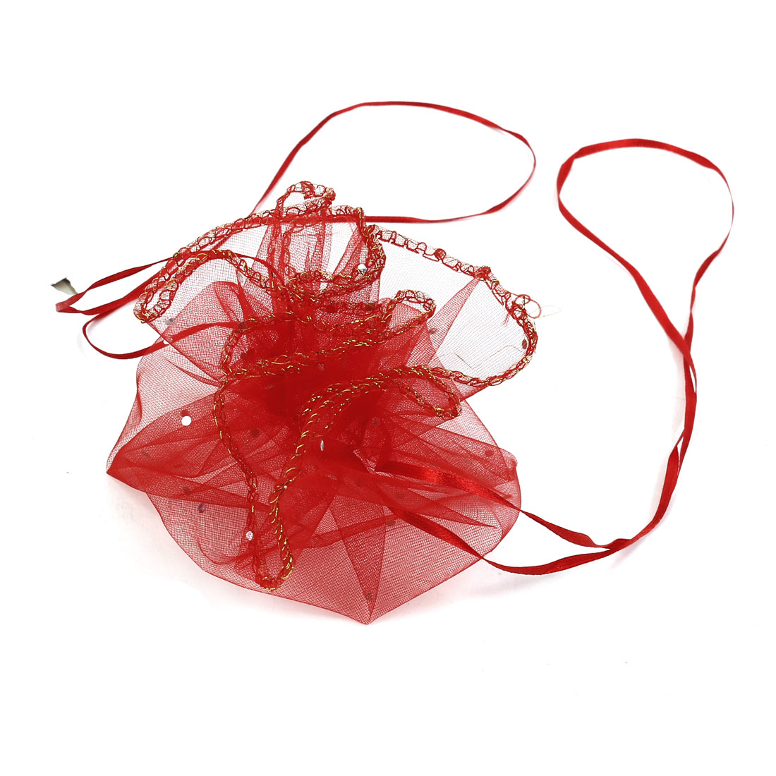 10 Pcs Silver Tone Paillette Decor Red Organza Wedding Candy Bag