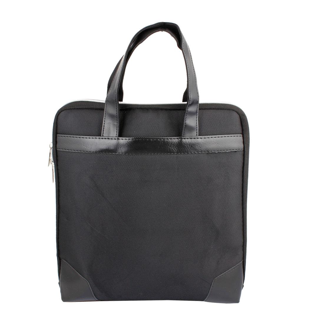Black Nylon Pocket Laptop Holder Bag Hanging Case 34 x 32cm for Vehicle Car