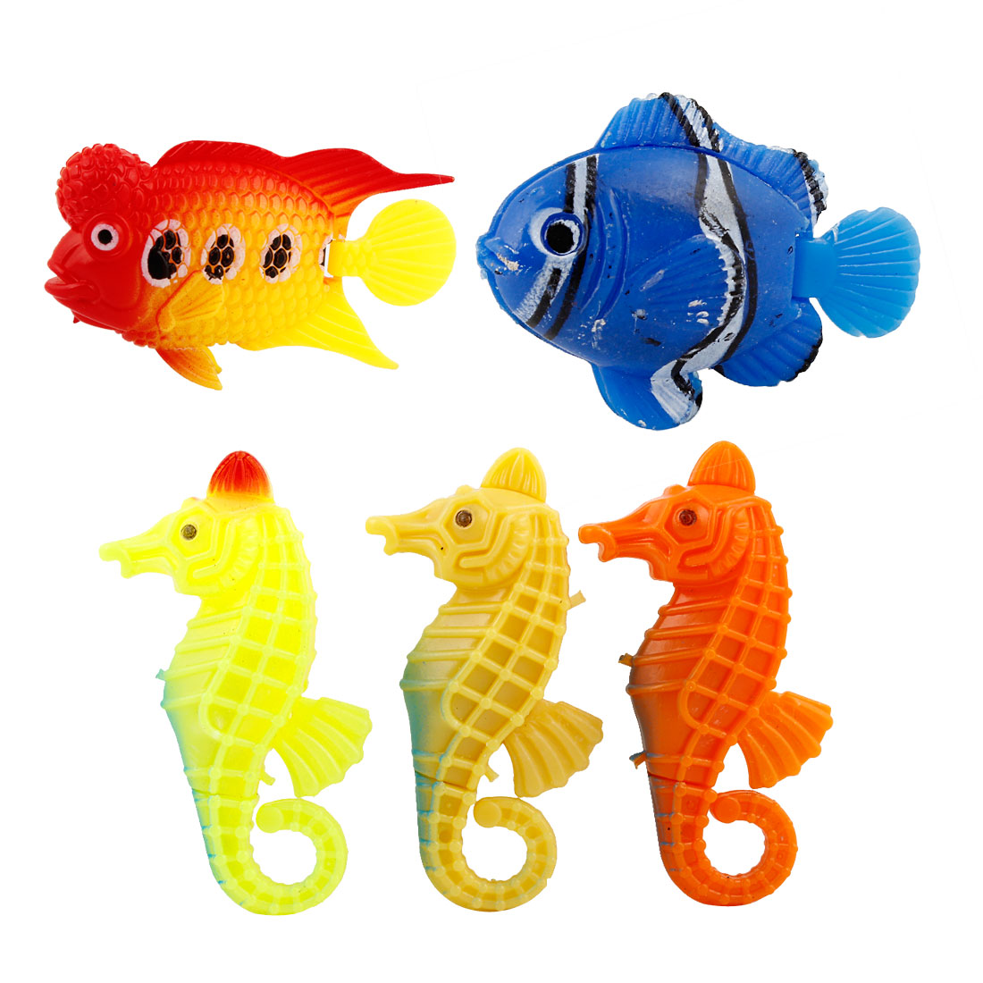 5 Pcs Assorted Color Plastic Swing Tail Tropical Fish Sea Horse Shape for Aquarium