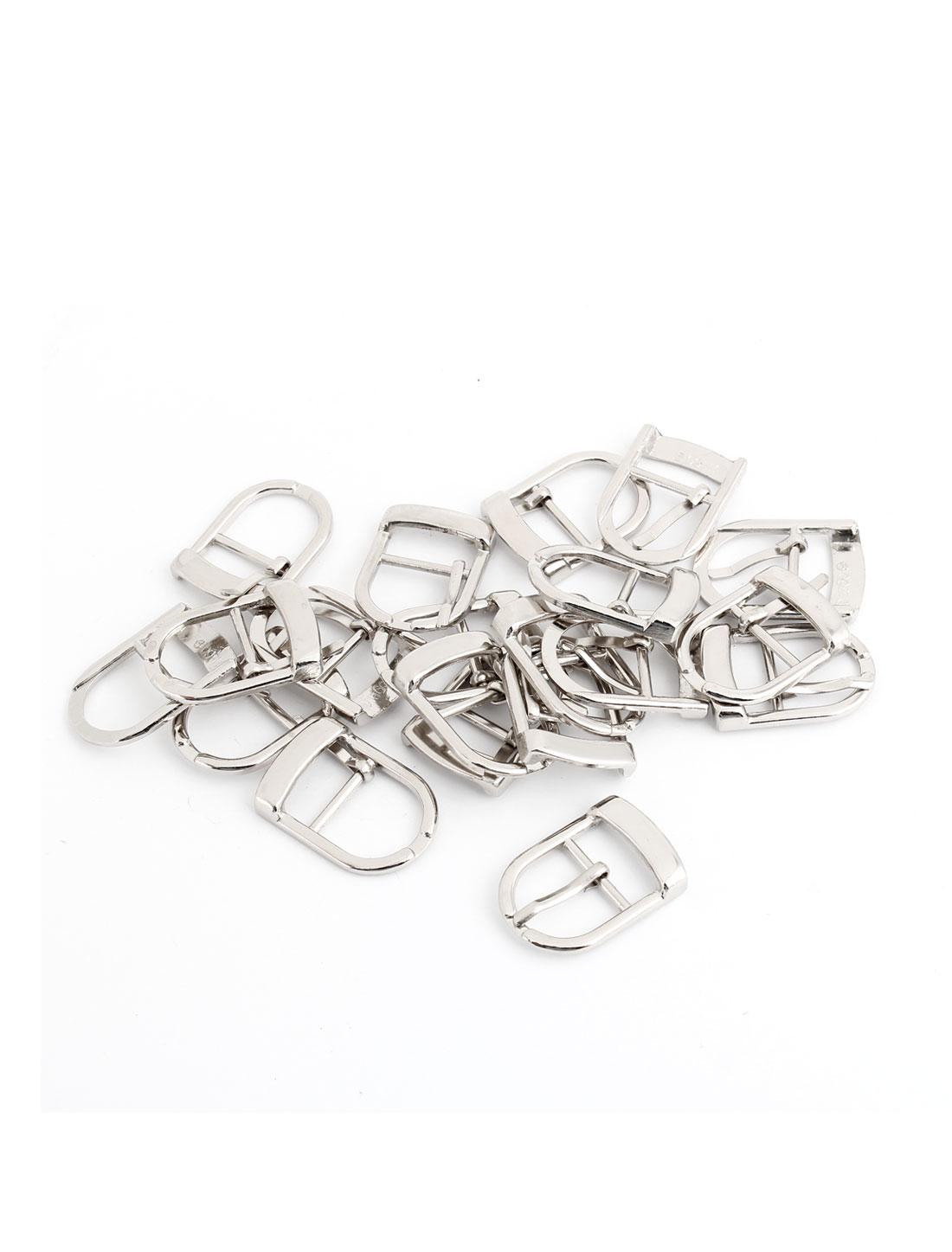 20 Pcs Silver Tone Metallic Shoes Single Prong Pin Buckles