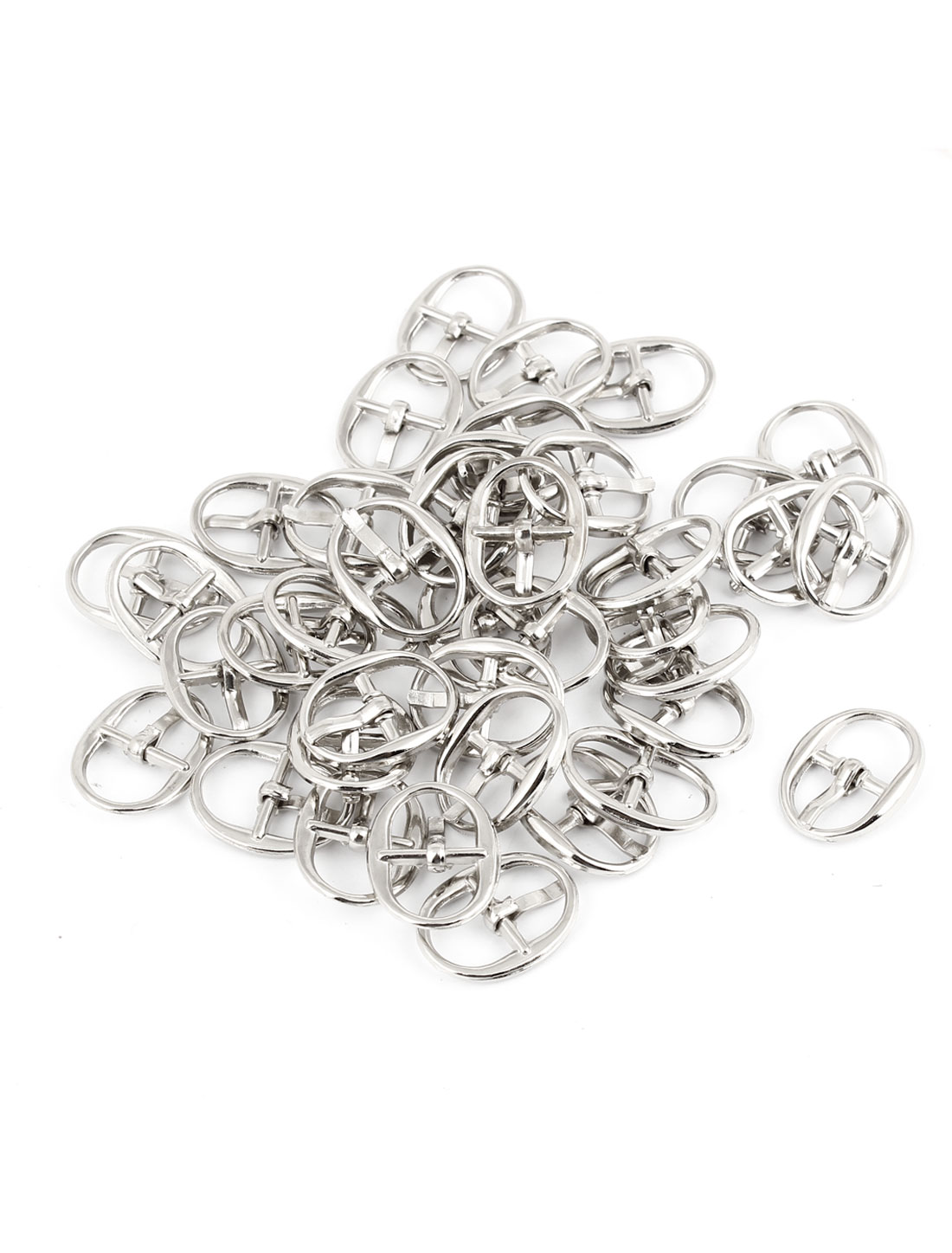 1.8cm x 1.4cm Single Prong Pin Shoes Buckles Silver Tone 40 Pieces
