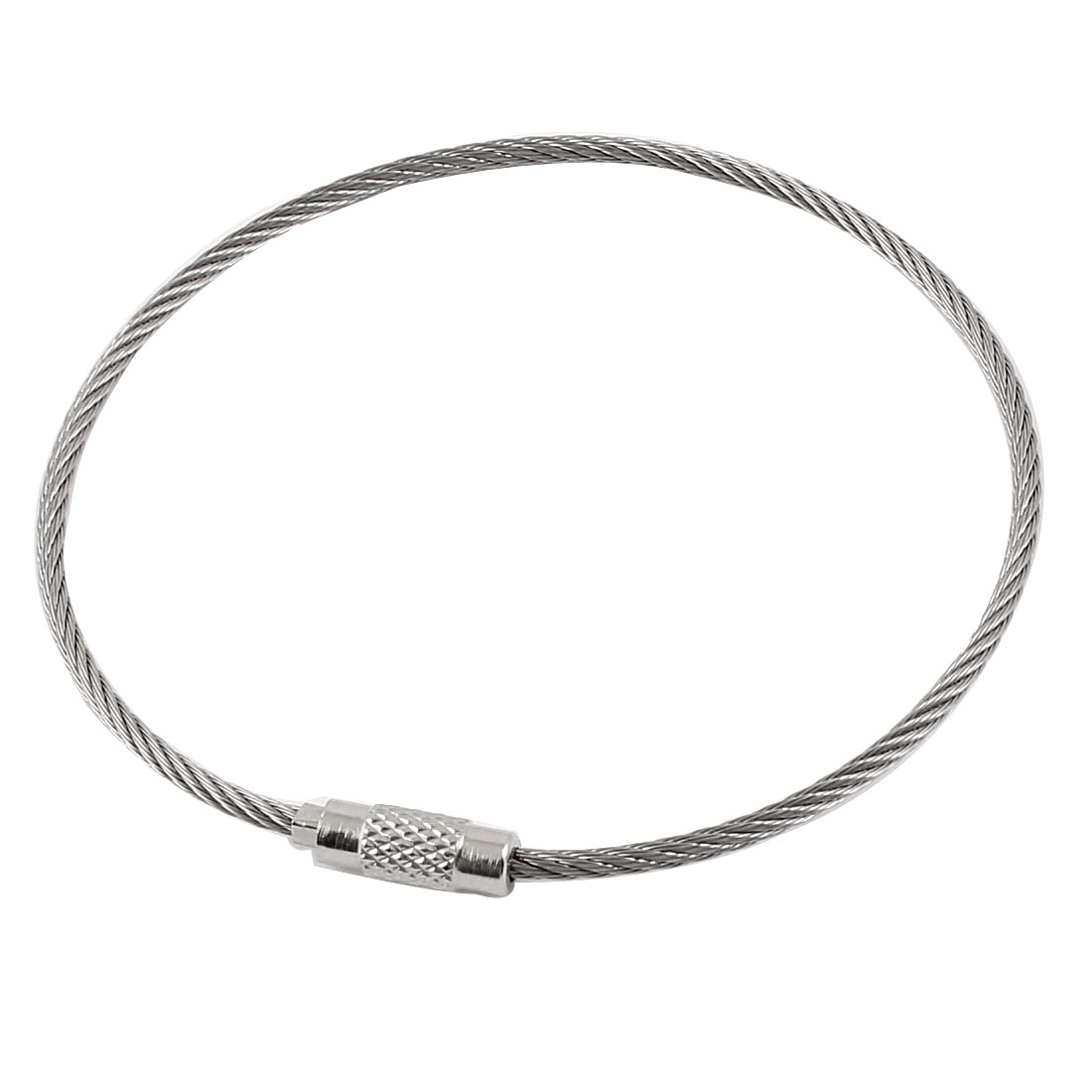 2mm Dia Stainless Steel Wire Ring Rope Keyring Cable 20cm Long