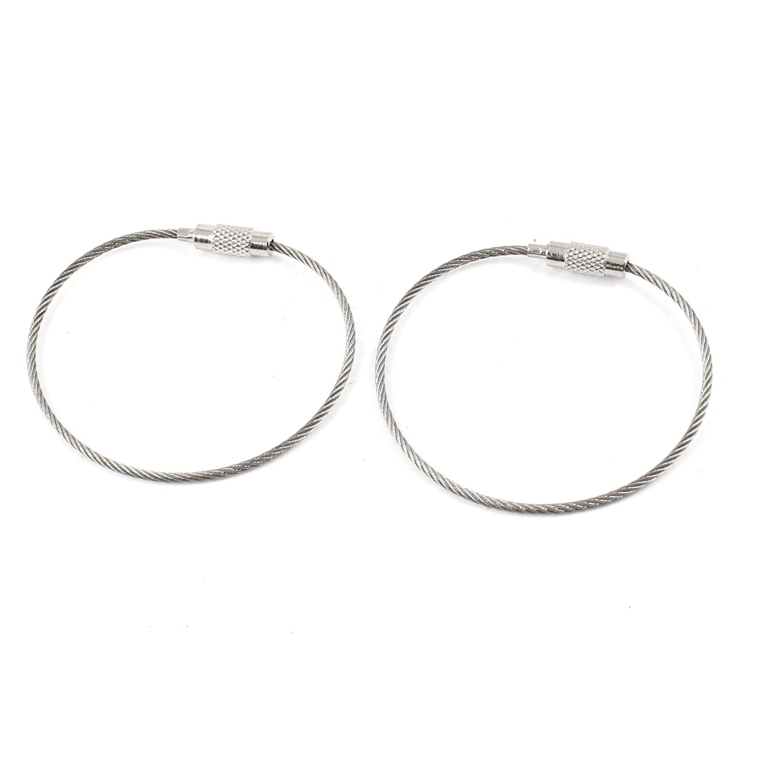 "Outdoor Key Holder 1.5mm Dia Stainless Steel Wire Ring Cable 5.9"" Long 2Pcs"