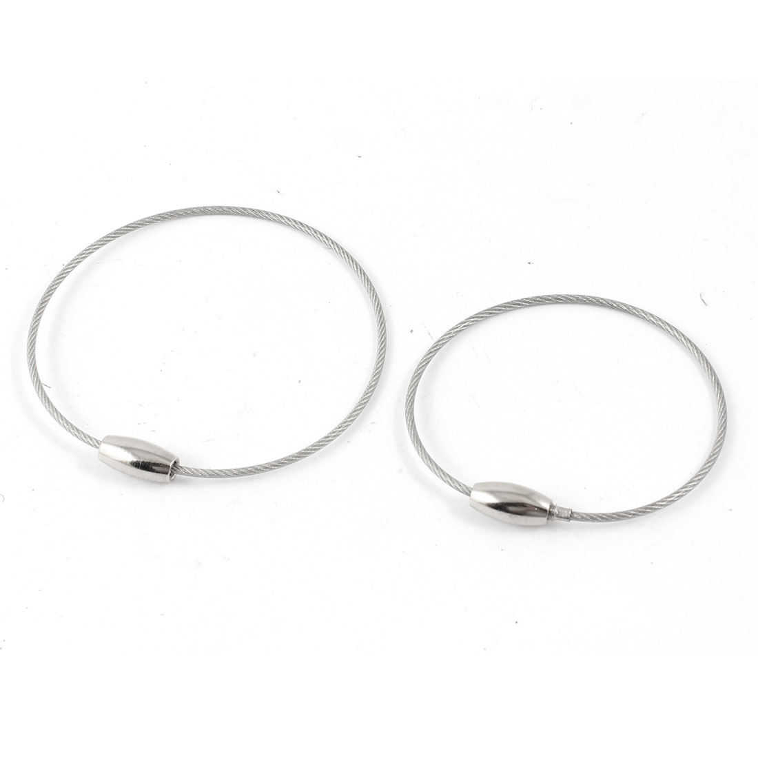 1.5mm Dia Stainless Steel Wire Ring Key Holder Rope Cable 2 Pcs