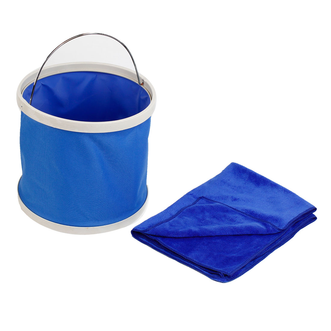 Auto Folding Bucket Container Trash Bin Blue 9-11L w Towel