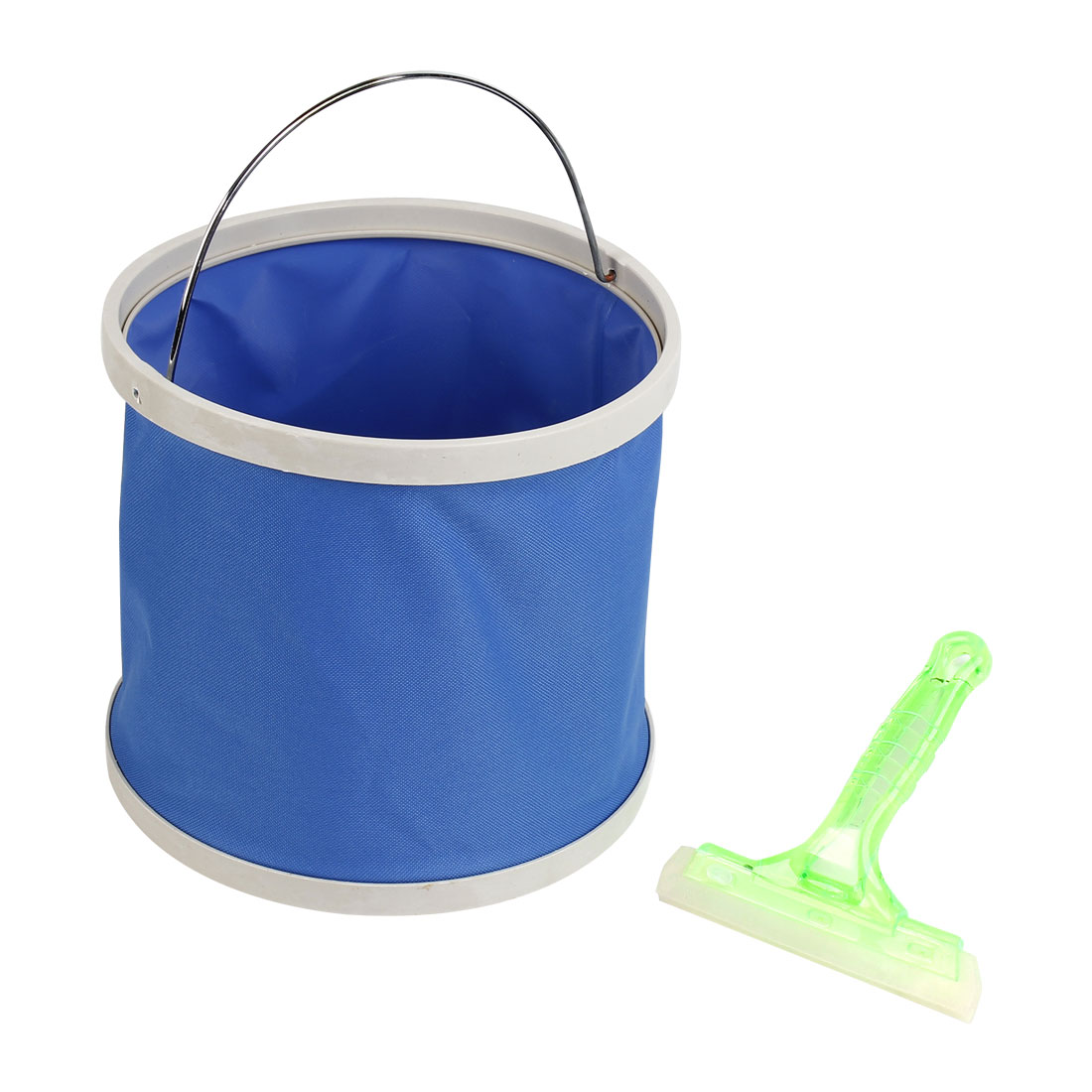 Car Foldable Bucket Container Blue 9-11L w Car Window Film Scraper