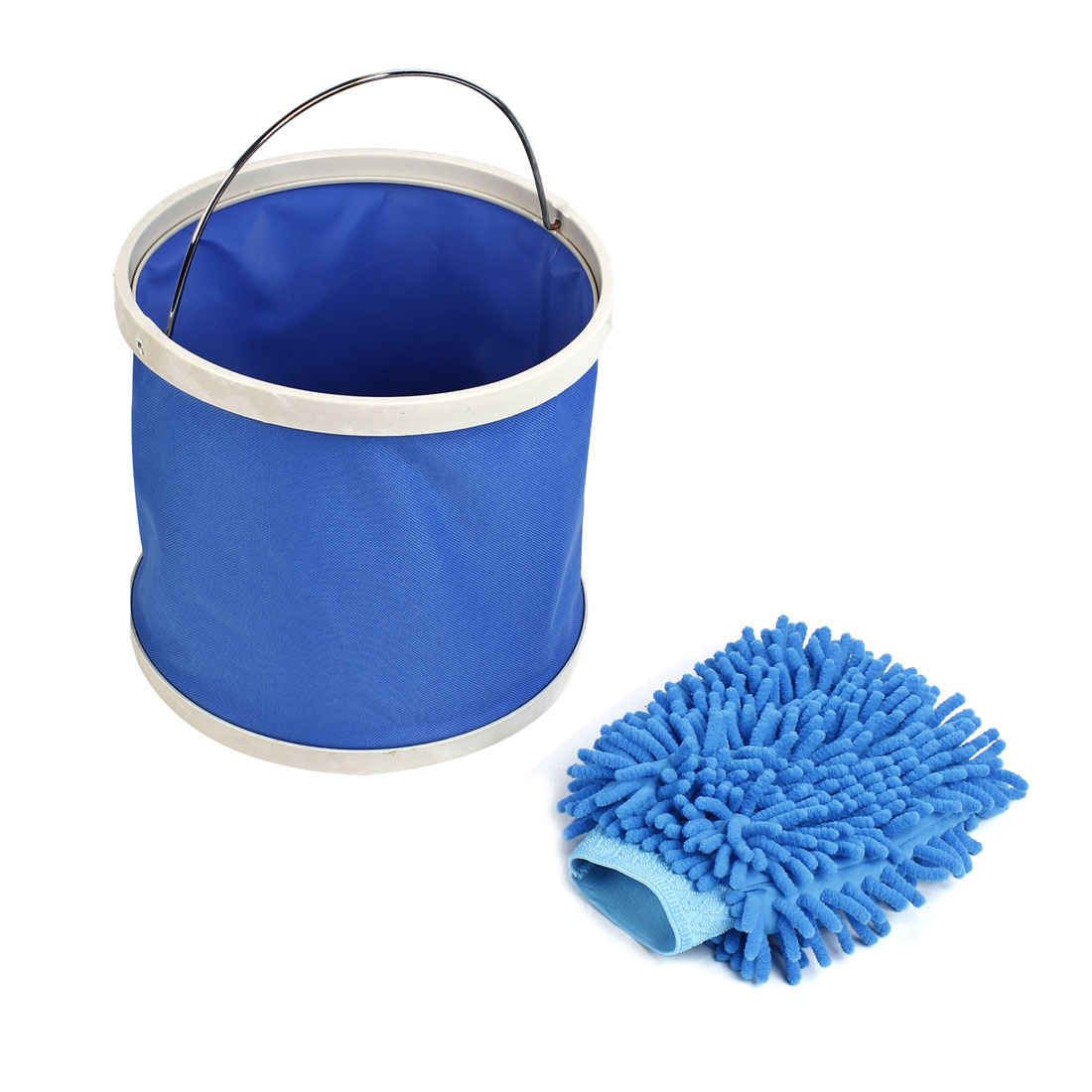 Car Foldable Bucket Container Trash Bin Blue 9-11L w Vehicle Mitt Brush