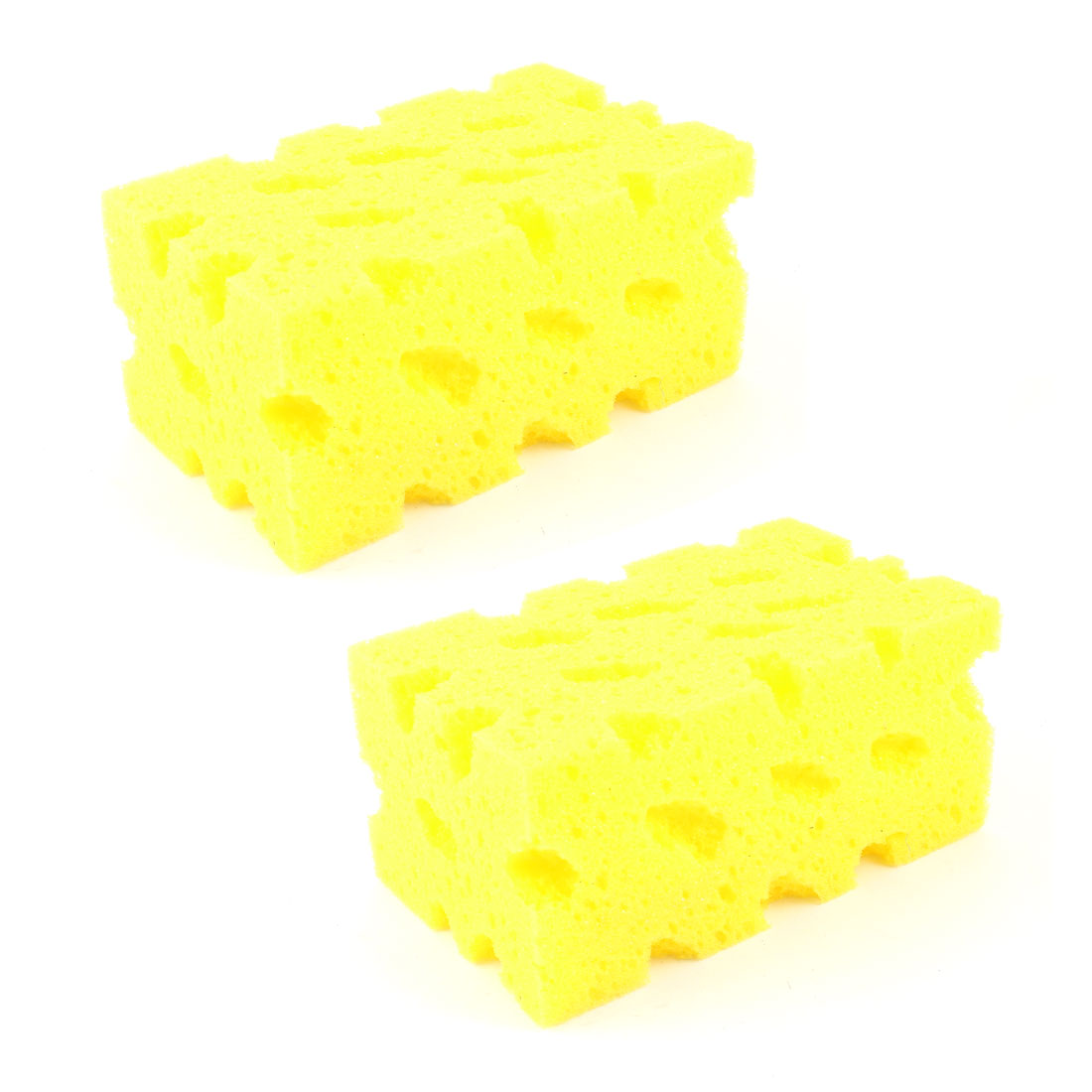2 Pcs Vehicles Car Cleaning Washing Cleaner Beige Soft Sponge Yellow