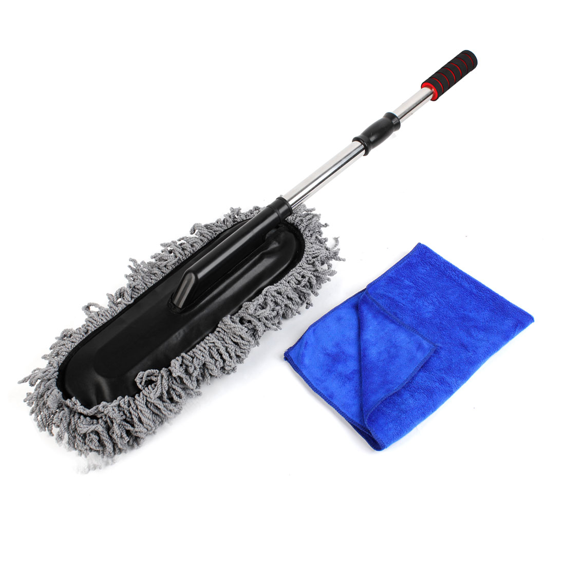 Auto Long Handle Gray Microfiber Brush Cleaning Tool w Car Clean Towel