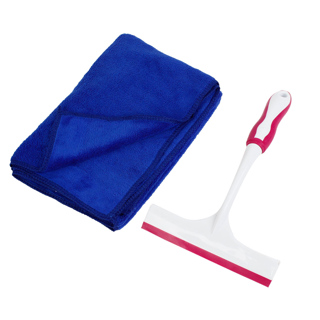 Car Blue 60 x 40cm Microfiber Cleaning Cloth Towel w Window Film Scraper