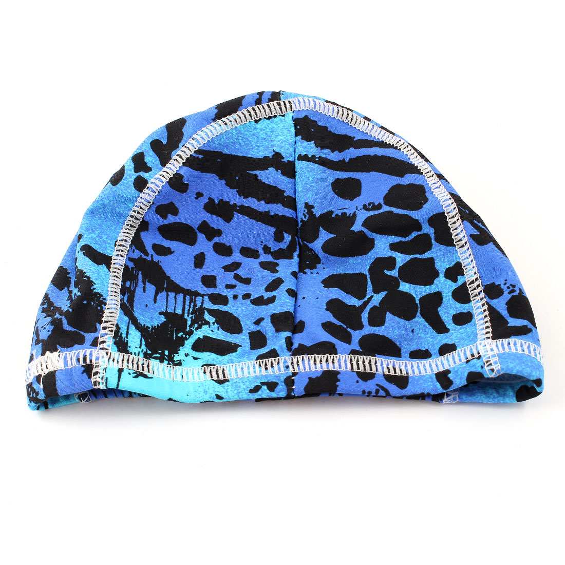 Lady Indigo Blue Leopard Pattern Polyester Elastic White Swimming Cap