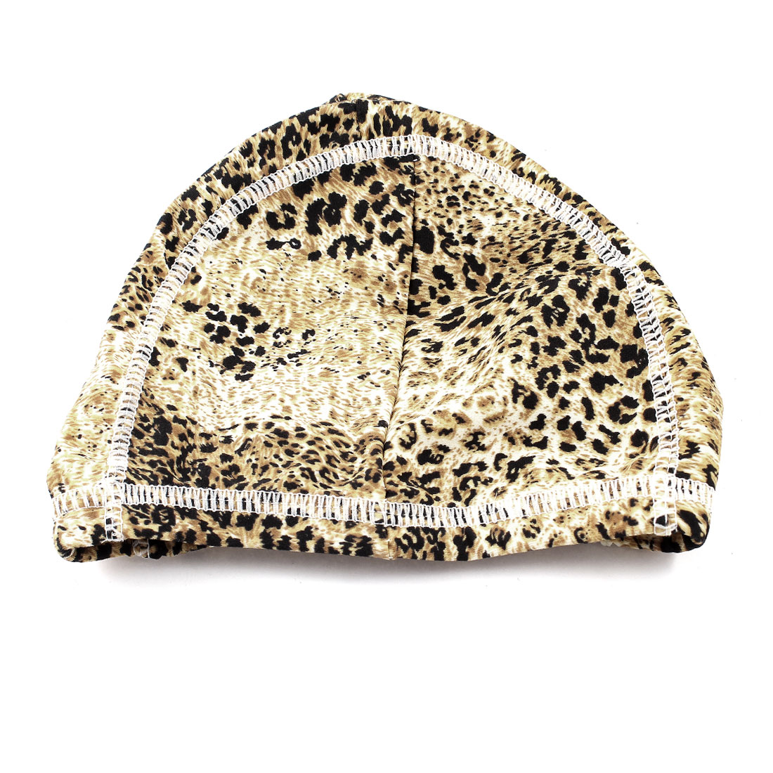 Brown Black Leopard Prints Elastic Head Band Polyester Swimming Cap