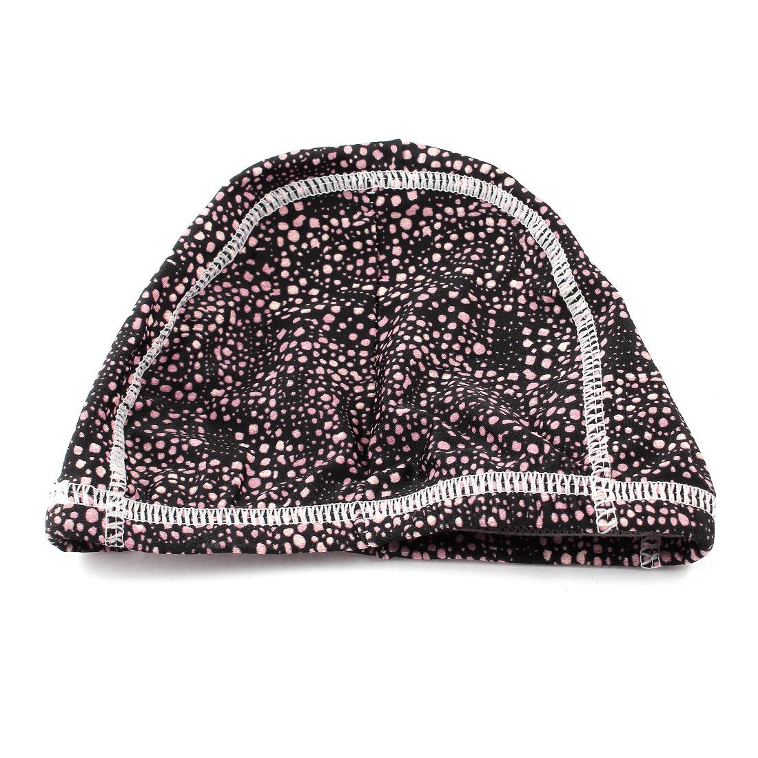 Man Lady Pink Black Dotted Pattern Elastic Swim Swimming Training Cap