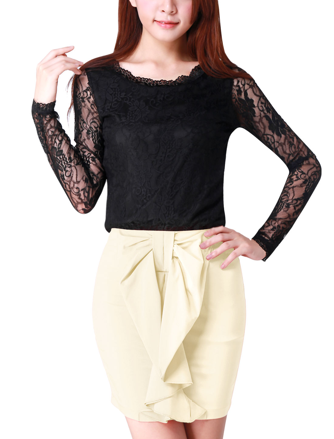 Ladies Sheer Long Sleeves Flower Embroidery Lace Shirt Black M