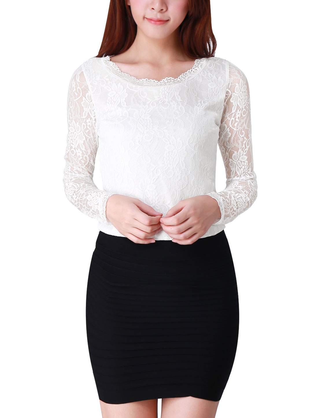 Women Slim Fit Long Sleeves Flower Design Lining Lace Top White XL