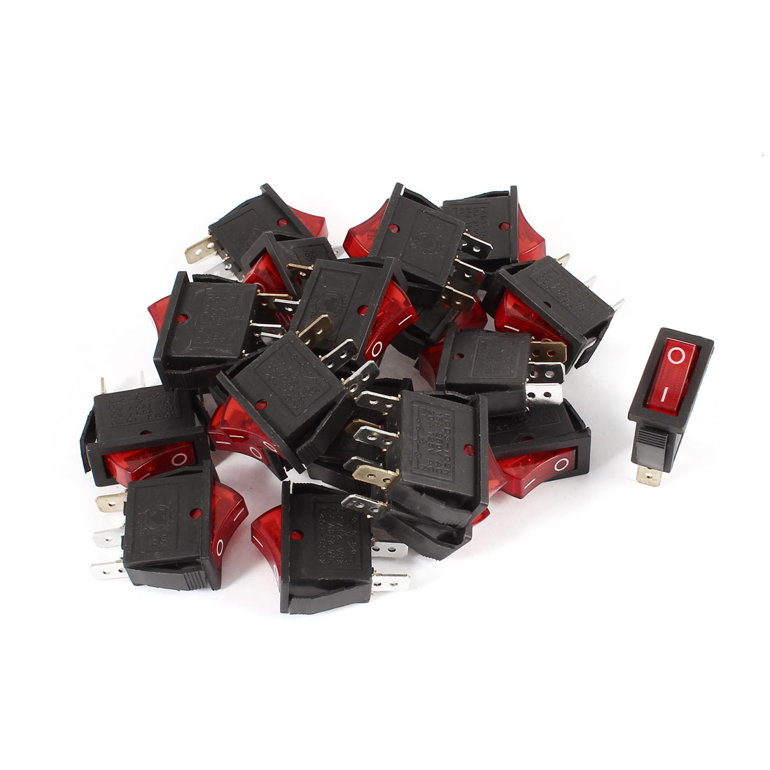 20 Pcs AC 15A/250V 20A/125V 3 Pole SPST ON/OFF Red LED Indicator Rocker Switch KCD3-102N