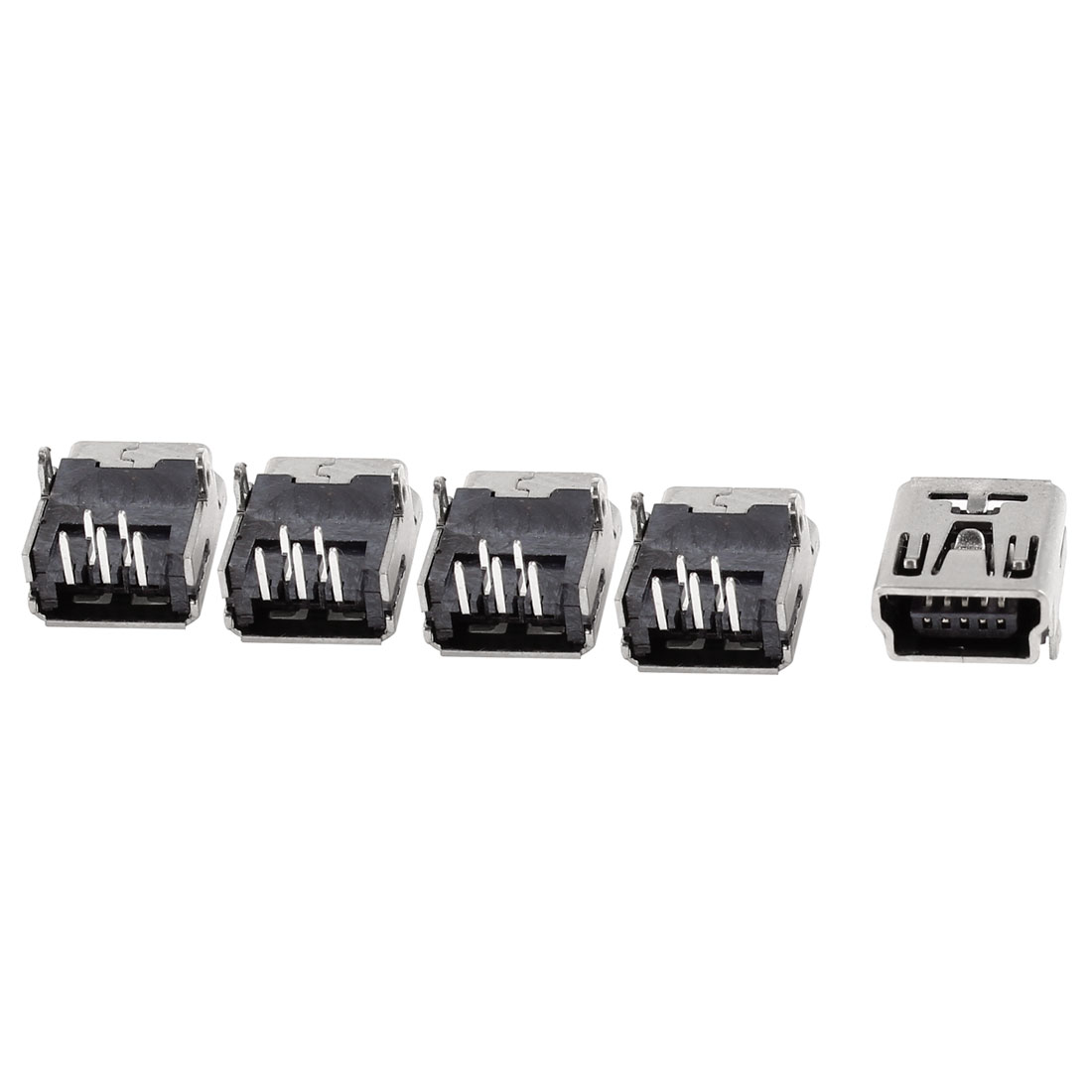 5 Pcs Right Angle PCB Mount 5pin USB Mini B Type Female Socket Connector