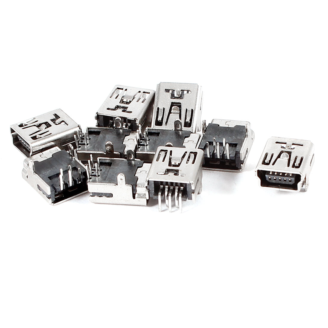 10 Pcs Right Angle PCB SMT Mini USB Type B 5Pin Female Connector