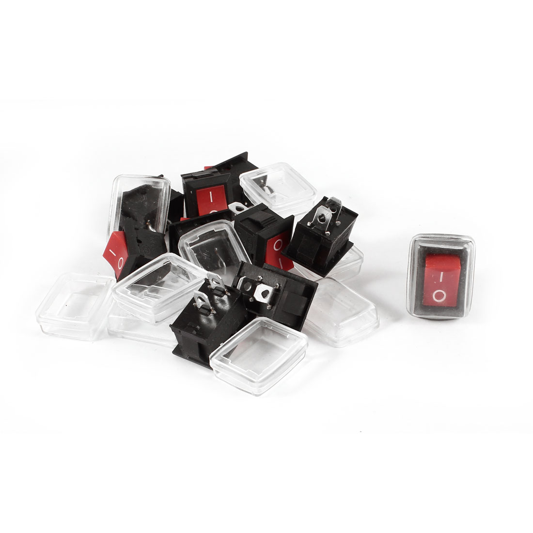 10 Pcs RY1-101 2Pin SPST ON-OFF Rocker Switches AC 125V/10A 250V/6A w Waterproof Cover