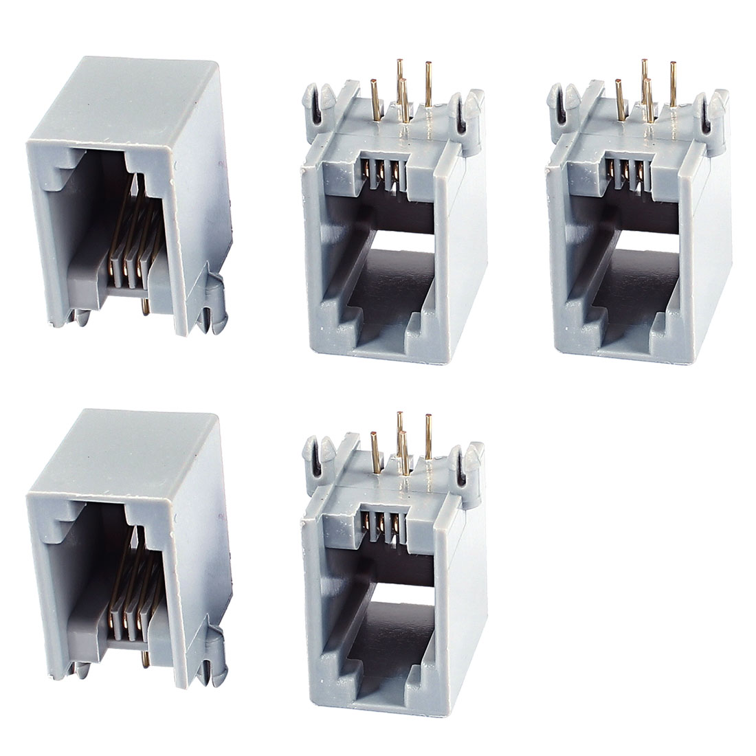 5 Pcs Gray Right Angle PCB Mount Telephone RJ11 4P4C Modular Jack Side Entry