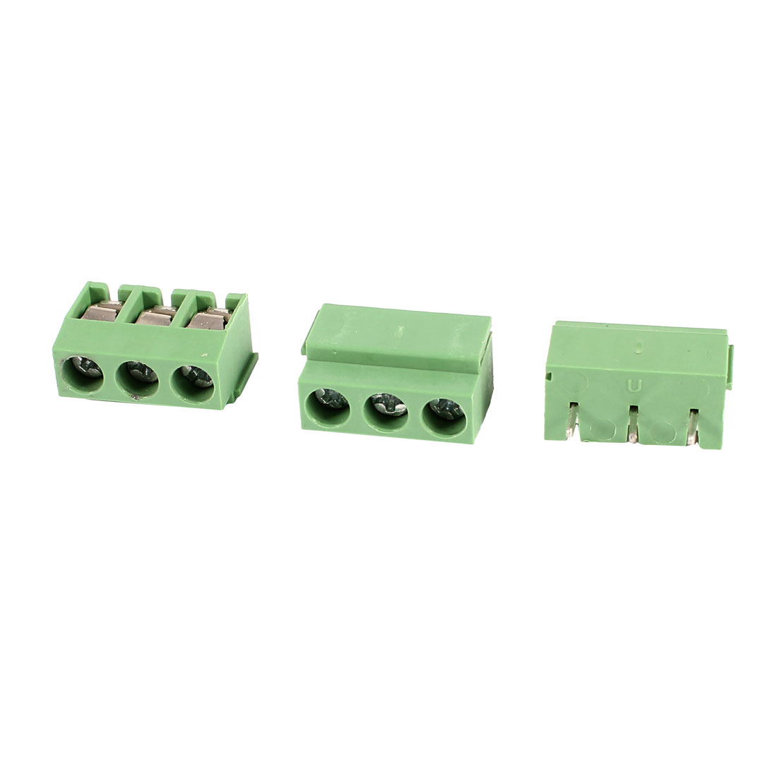 3 Pcs PCB Mount Screw Terminal Block 3 Pole 5mm Pin Pitch for 24-12AWG Wire 250V 5A