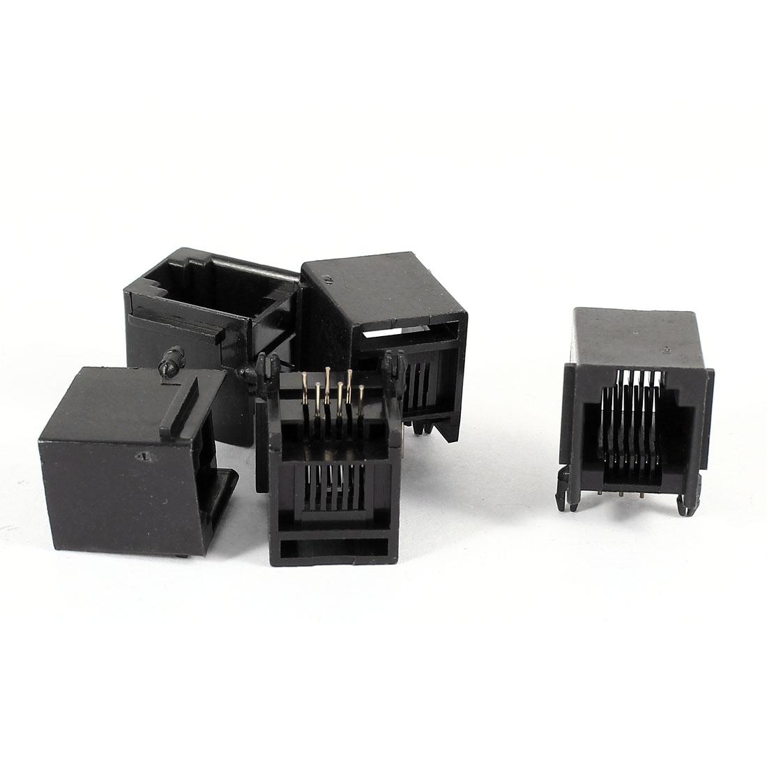 5 Pcs Right Angle PCB Mount 6P6C RJ11 Socket Modular Jack Telephone Connector