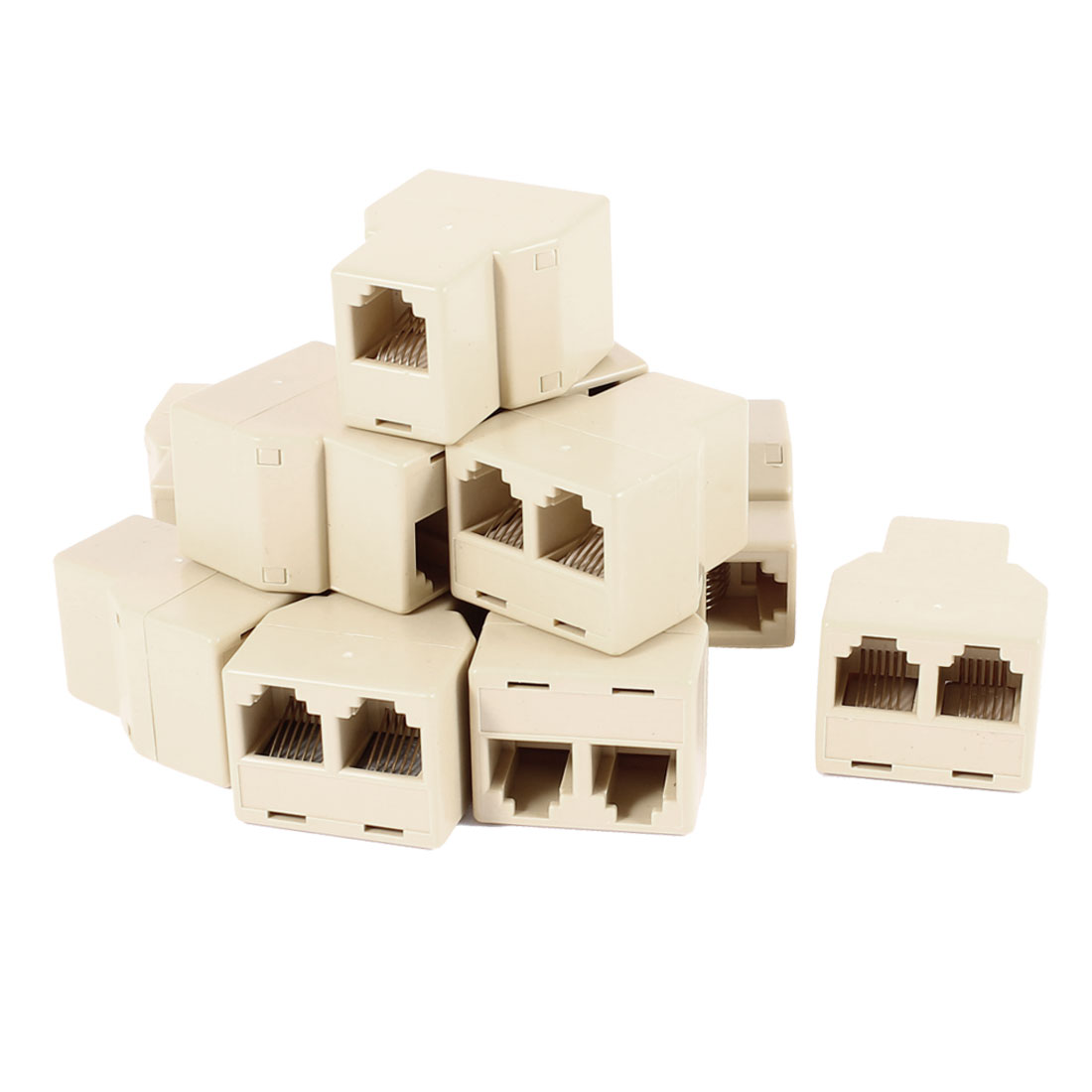 12 Pcs RJ11 6P6C Female to 2 Female Socket Connector Telephone Modular Splitter Adapter Yellow
