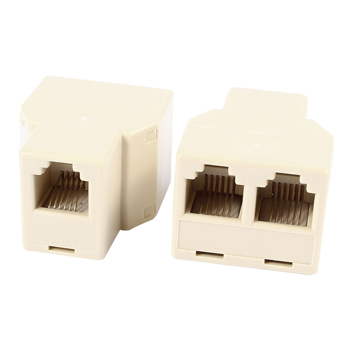 2 Pcs RJ11 6P6C Female to 2 Female Socket Connector Telephone Modular Splitter Adapter Yellow