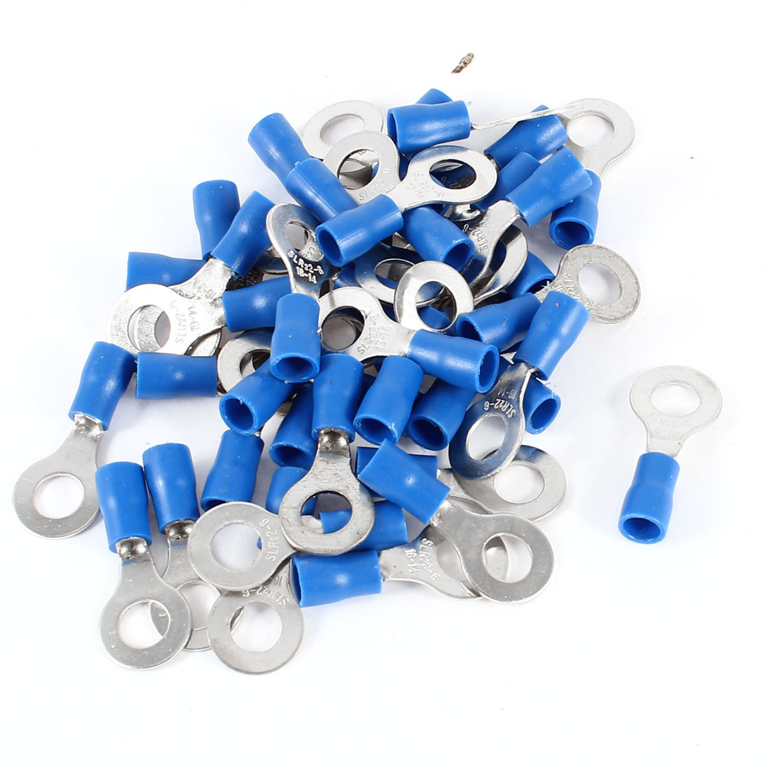 40 Pcs 16-14AWG Wire Cable Insulated Ring Crimp Terminal Blue SLR22-6