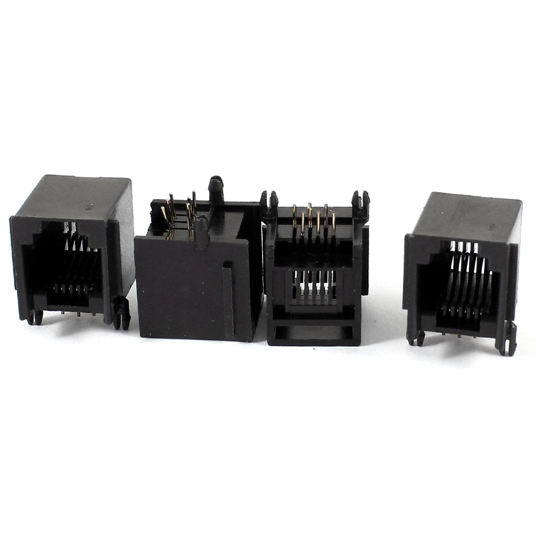 4 Pcs Right Angle PCB Mount 6P6C RJ11 Socket Modular Jack Telephone Connector