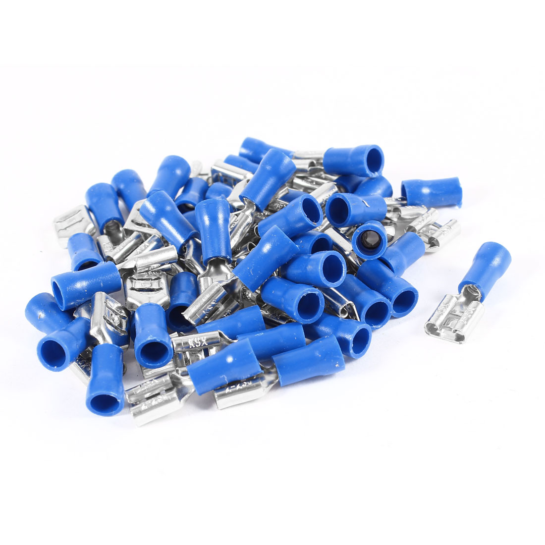 40 Pcs Blue Pre Insulated Sleeves AWG16-14 Cable Connect Spade Receptacle Crimp Terminals FDD 2-250